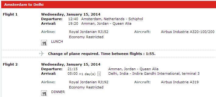 Let z Amsterdamu do DIlí s přestupem v Jordánsku (15. leden 2014)