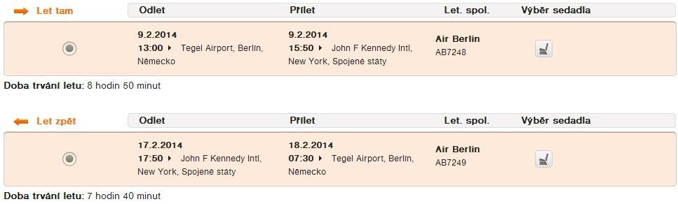 Oba lety operuje AirBerlín - žádná laciná nízkonákladovka!