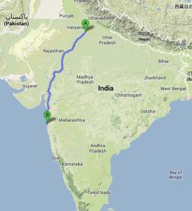 Z Dilí do Bombaje je to přes 1.000 Km