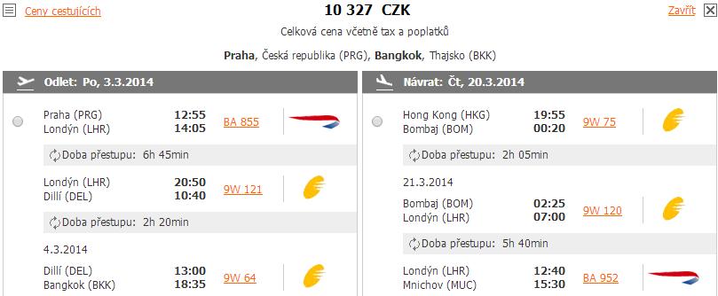 Zpáteční letenka Praha-Bangkok-Mnichova za 10.327 Kč