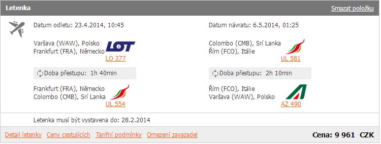 Zpáteční letenka Varšava-Colombo za 9.961 Kč