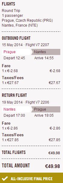 Zpáteční letenky Praha - Nantes za 1.290 Kč