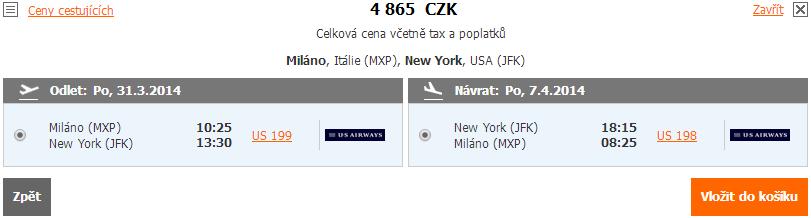 Super cena z Milána do New Yorku za 4.865 Kč