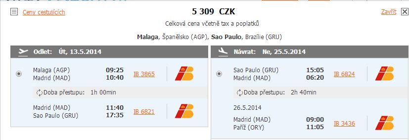 Letenka z Malagy do Sao Paula a zpět do Paříže za 5.309 Kč!