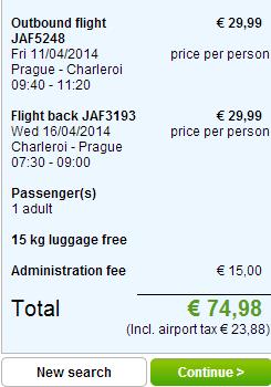 Letenka Praha - Charleroi