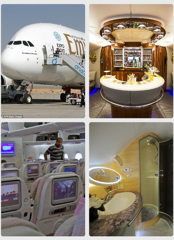 Interiér Airbusu A380 Praha - Dubaj