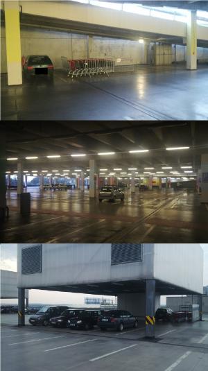 Parkoviště na obchodním centru Šestka přes noc