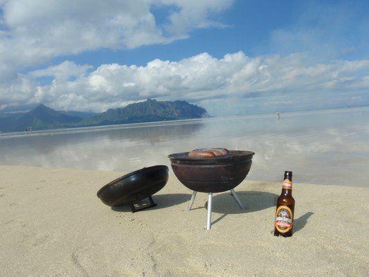 Grilování na bílé pláže, Ostrov Oahu
