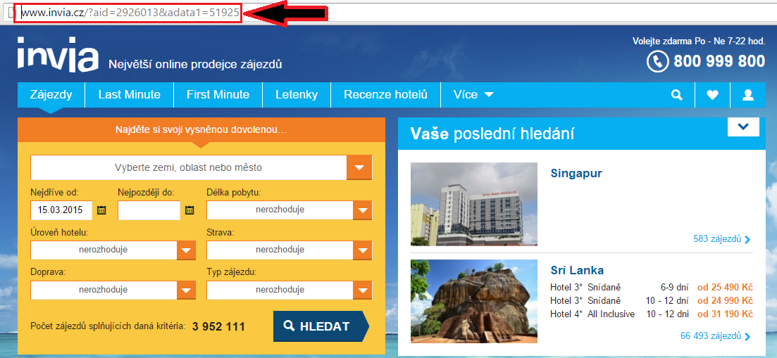 Prokliknutí z plnapenezenka.cz je vidět ve vyhledávači - v tuto chvíli se vám peníze načtou do účtu