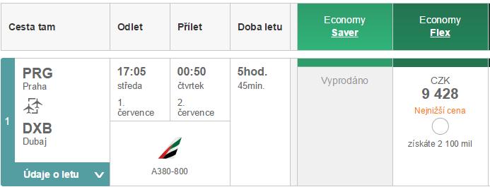 A380-800 mezi Prahou a Dubají