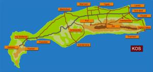 Mapa ostrova Kos