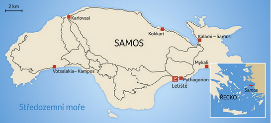Letoviska na ostrově Samos, zdroj: Blue-Style.cz
