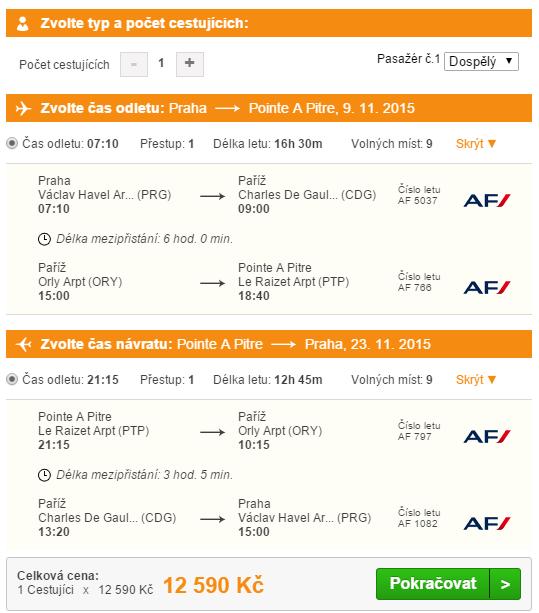 Itinerář letu na Guadeloupe
