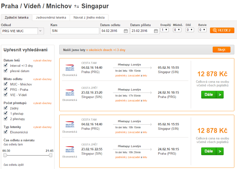 Letenka do Singapuru
