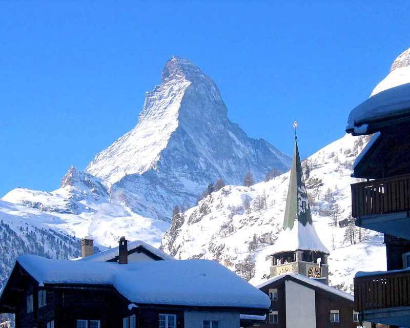 Vrcholek v Zermattu - typický symbol