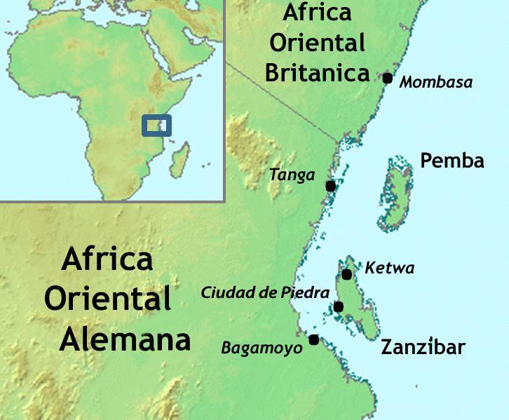 Poloha ostrovů Pemba a Zanzibar