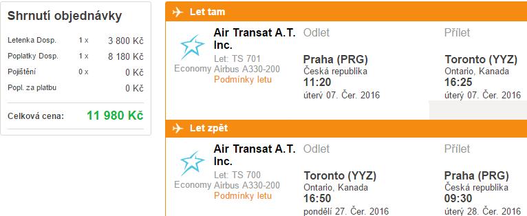 Letenky z Prahy do Toronta za 11 990 Kč
