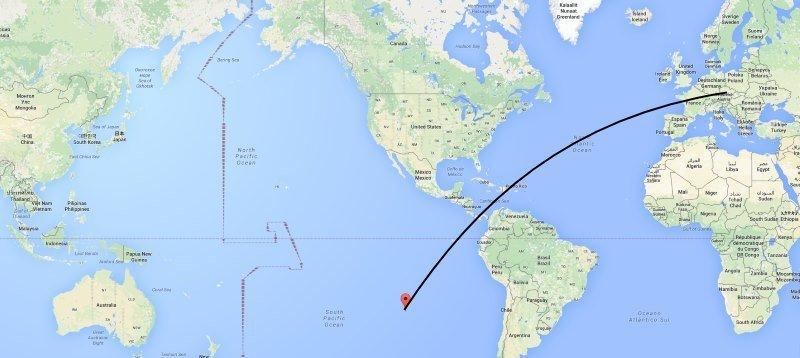 Mapa letu z Prahy na Velikonoční ostrov