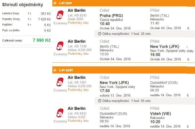 Zpáteční letenka z Prahy do New Yorku s návratem do Vídně