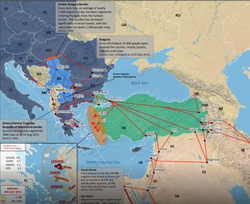 Detailní tras imigrantů z Turecka do Řecka