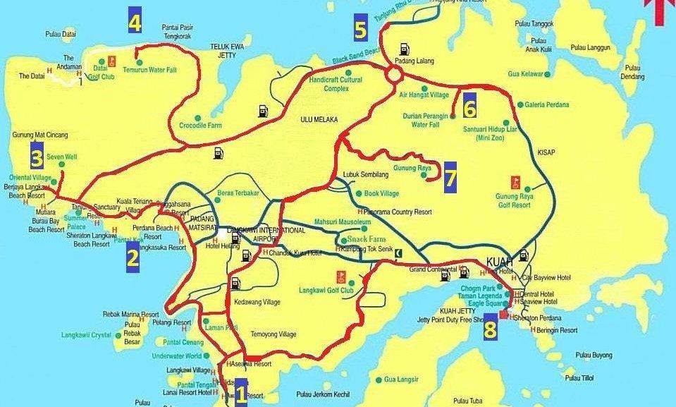 Mapa Langkawi - zajímavá místa