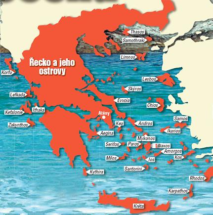 Všechny Řecké ostrovy - od jejich polohy lze odvodit jejich vhodnost k letní dovolené