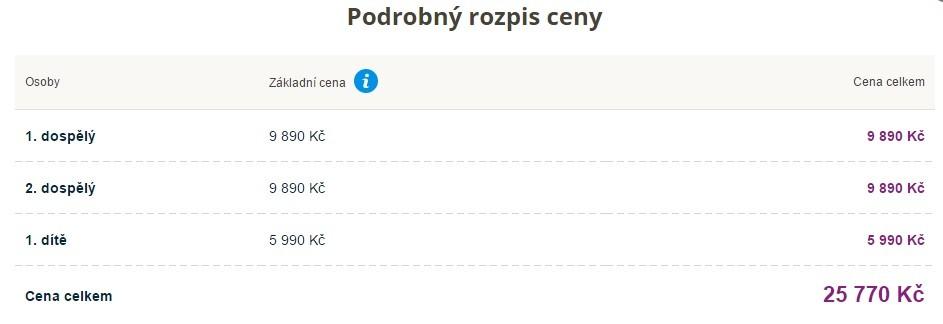 Celková cena za zájezd do Bulharska