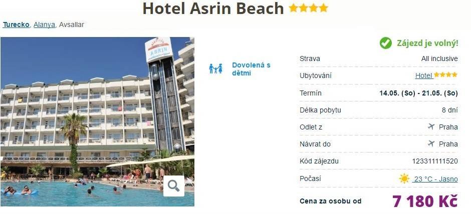 Hotel v Turecku za 7 180 Kč s All Inclusive