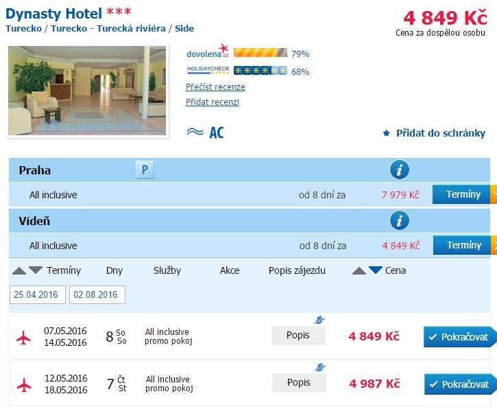 Odlety do Turecka z Vídně i Prahy