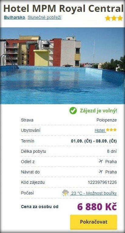 Dovolená do Bulharska First minute s polopenzí