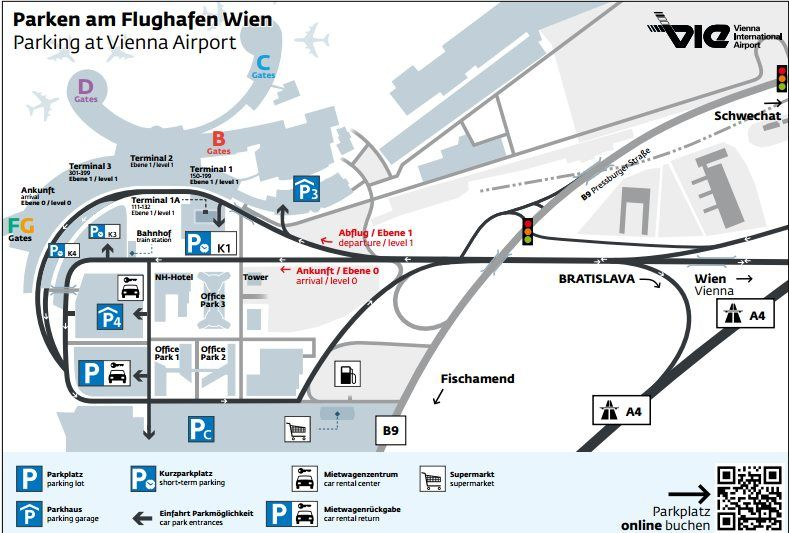 Plánek parkoviště ve Vídni