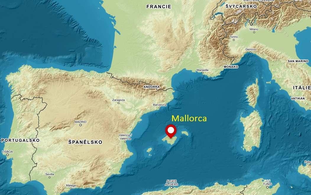 Poloha ostrava Mallorca