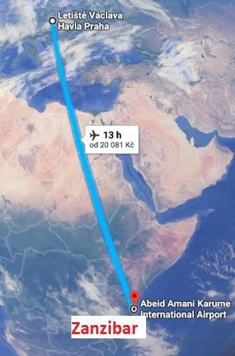 Doba letu Zanzibar