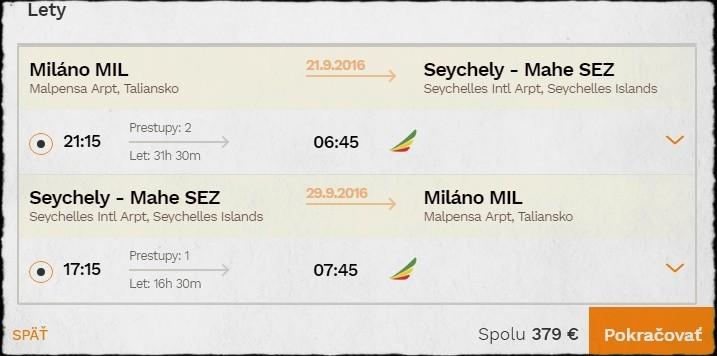 Letenka z Milána na Seychely