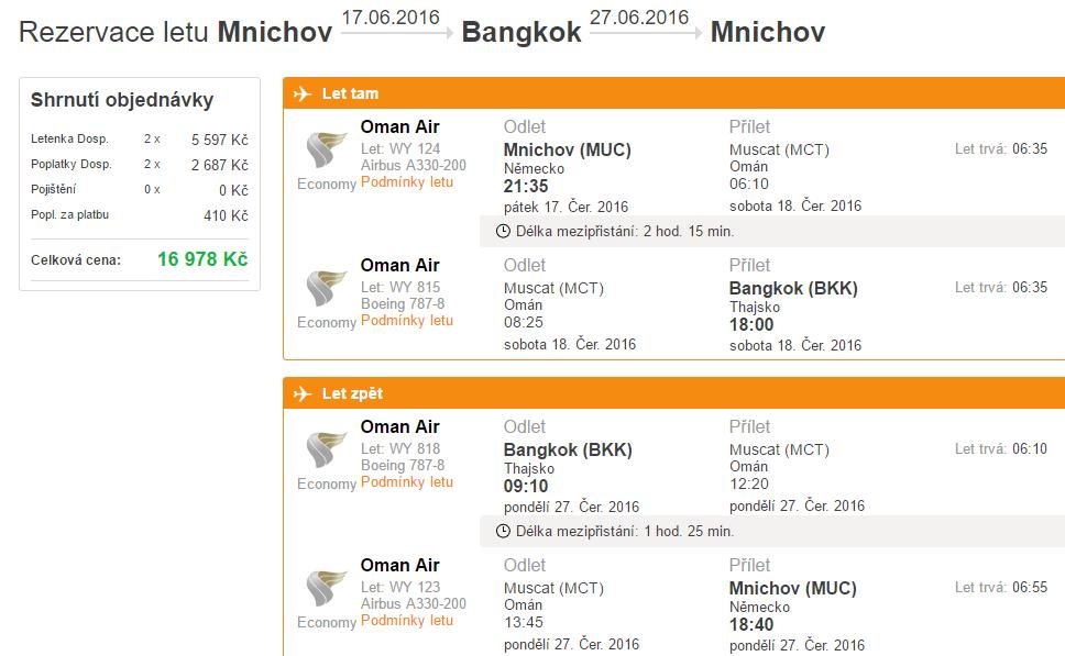 Promo akce Oman Air Mnichov – Bangkok pro 2 osoby za 16 978 Kč