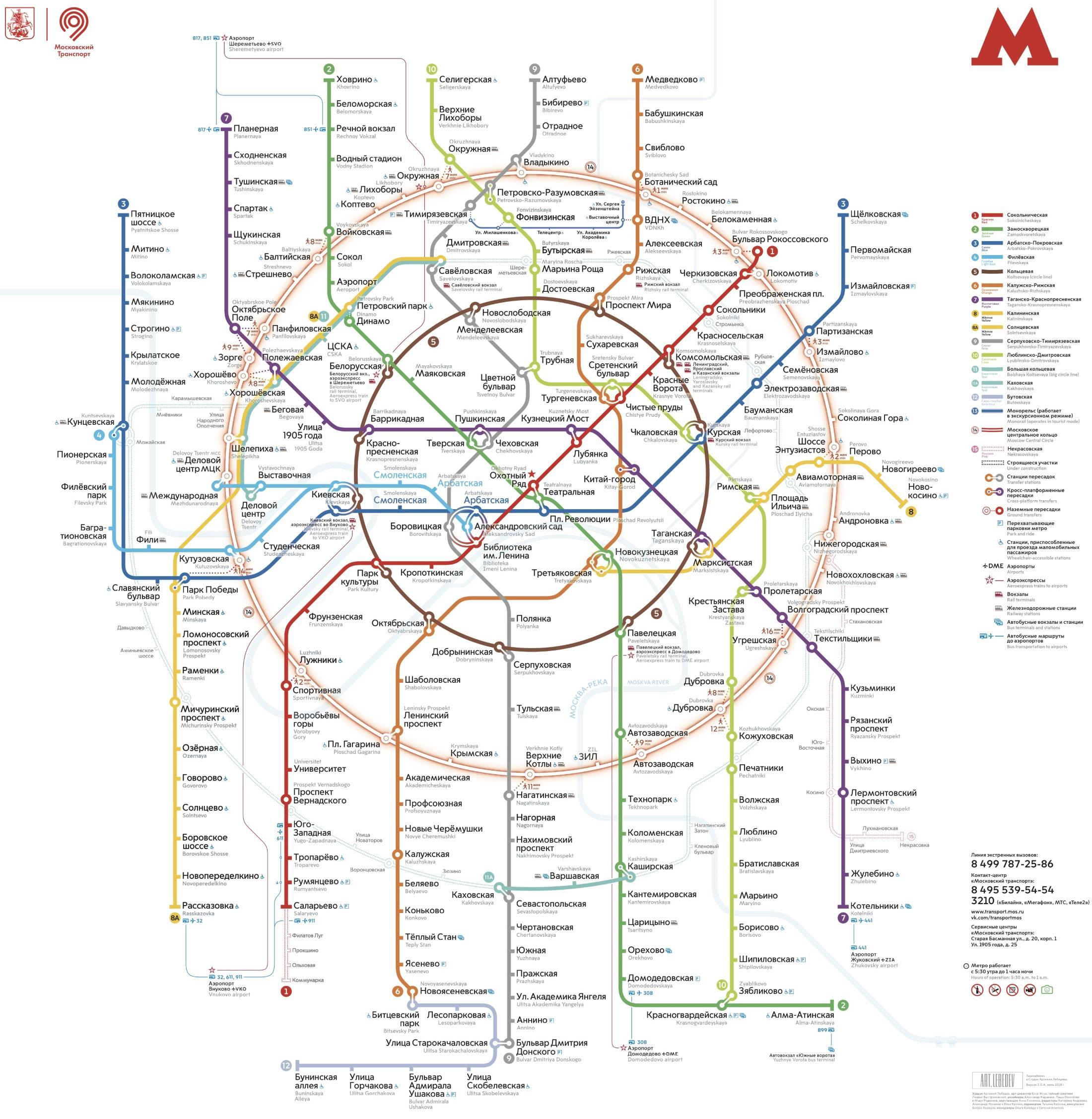 Detailní mapa moskevského metra