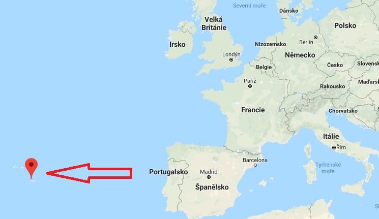 Kde leží Azorské ostrovy na mapě