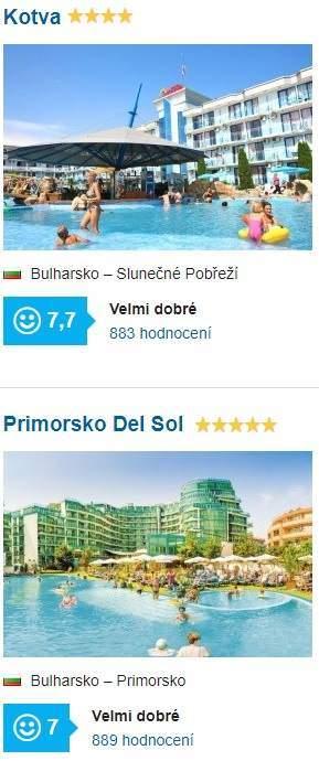 Nejlepší hotely v Bulharsku srovnání