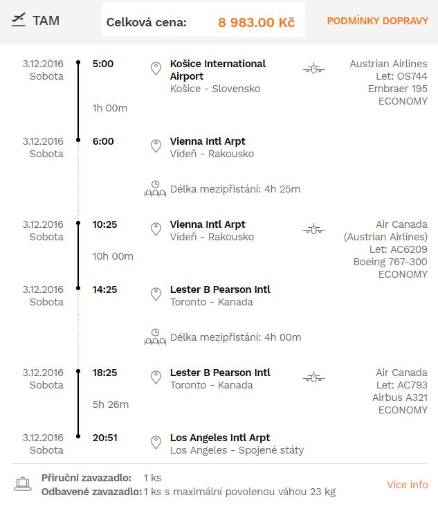 Zpáteční letenky z Košic do USA