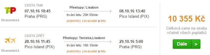 Letenky na ostrov Pico z Prahy