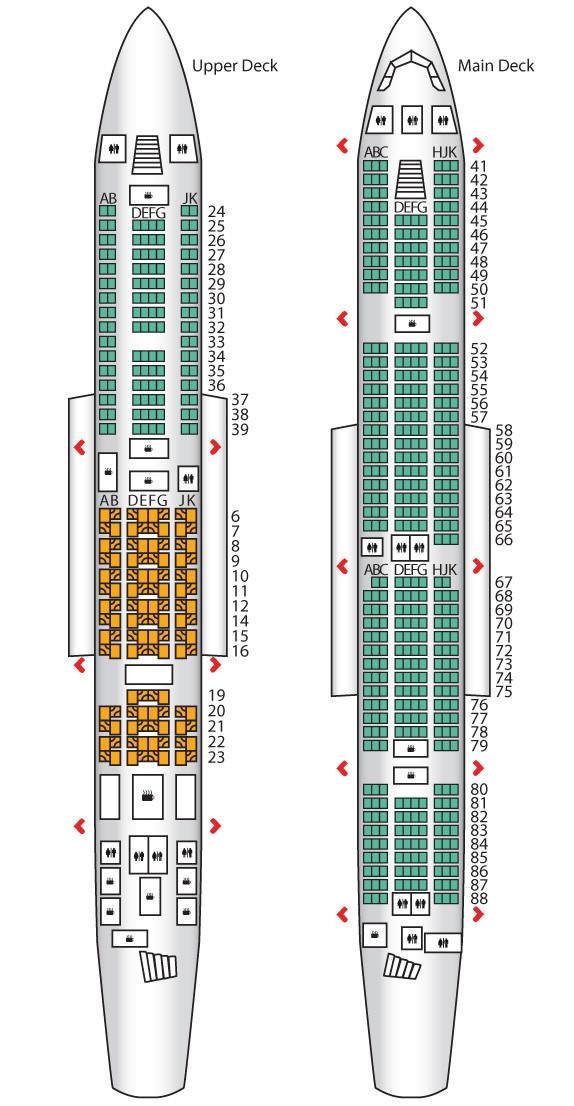 Plán sedadel Emirates A380