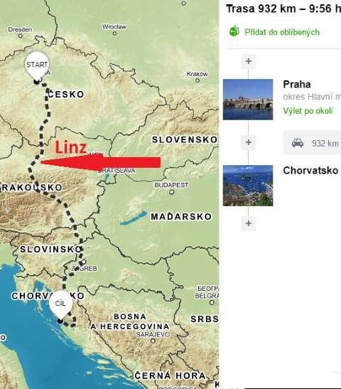 Cesta do Chorvatska přes Linz