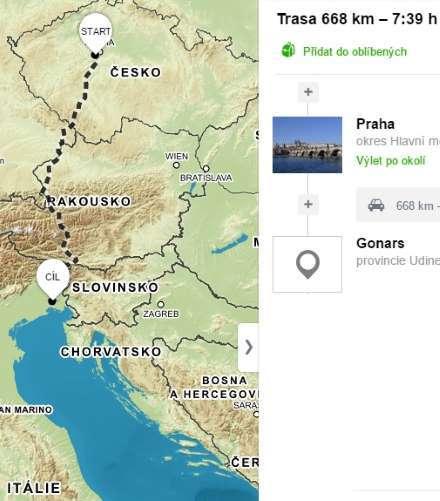 Cesta do Itálie autem