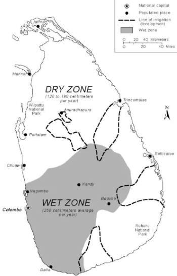Mapa Srí Lanky dvě oblasti a regiony