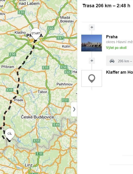 Vzdálenost z Prahy do Hochtiefu