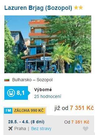 Bulharsko nejlevnější dovolená