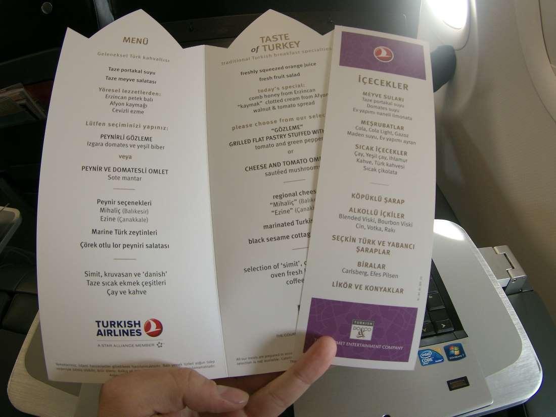 Jídelní lístek na zpátečním letu do Prahy
