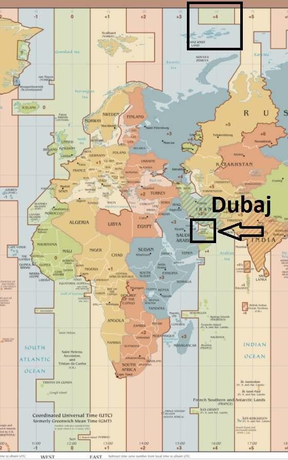 Časový posun Dubaj