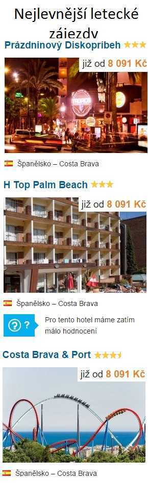 Nejlevnější dovolená Španělsko