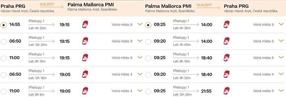Letenky z Prahy na Mallorcu